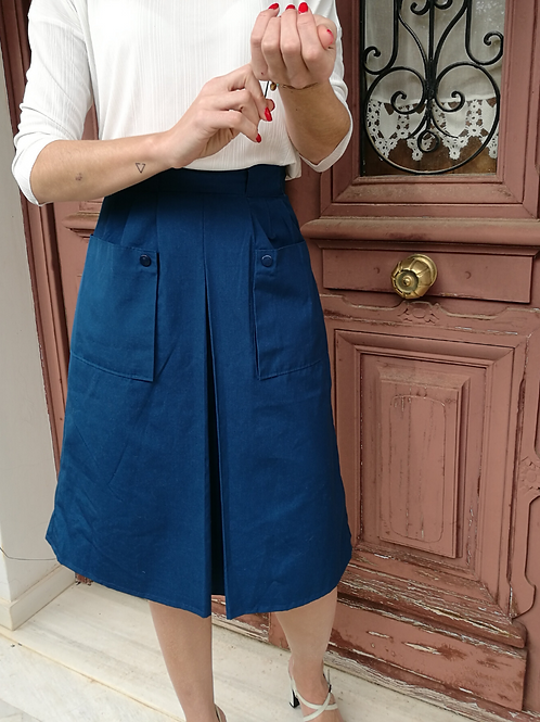 Vintage  Cotton Skirt in Dark Blue with Front Pockets