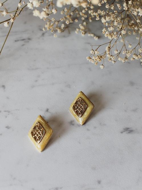 Vintage Gold Toned Enamel Statement Earrings