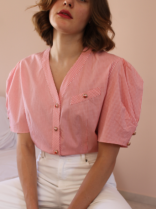 90s Vintage Puff Sleeve Blouse in Red Gingham - (EU46)
