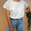 Thumbnail: Vintage Embroidered Blouse in Cream White