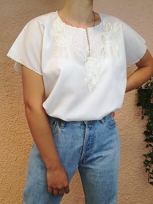 Vintage Embroidered Blouse in Cream White