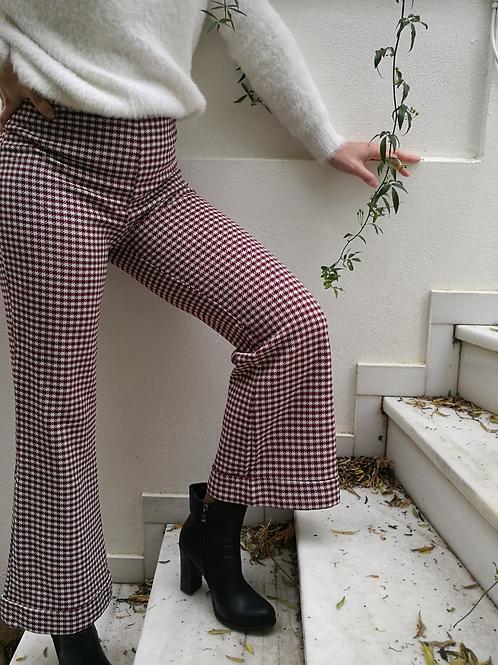 Vintage Flared Pants in Burgundy Check Print