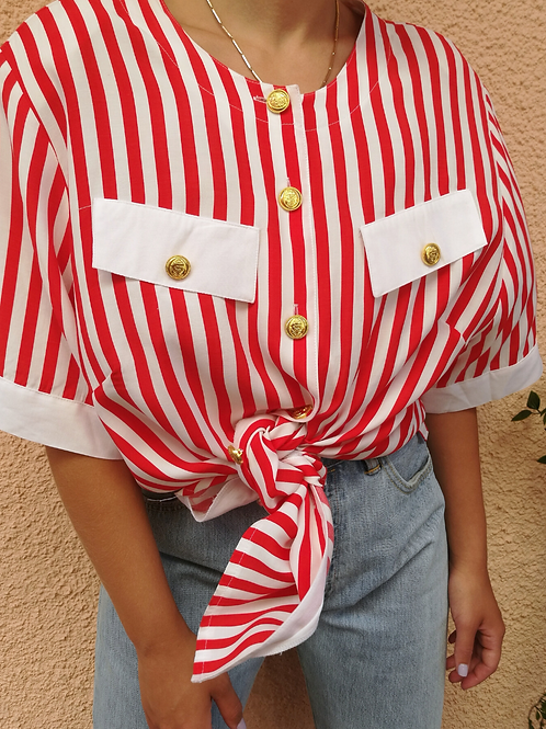 Vintage Striped Button Up Blouse in Red