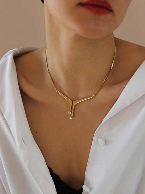 70s Vintage Art Deco Diamante Necklace