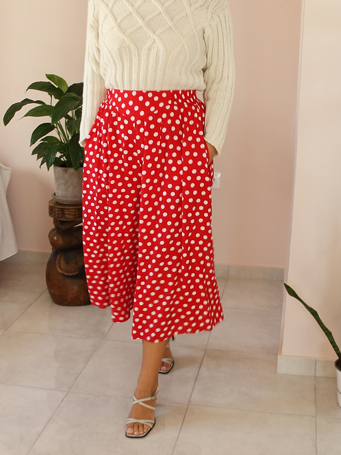 Vintage Polka Dot Culottes in Red