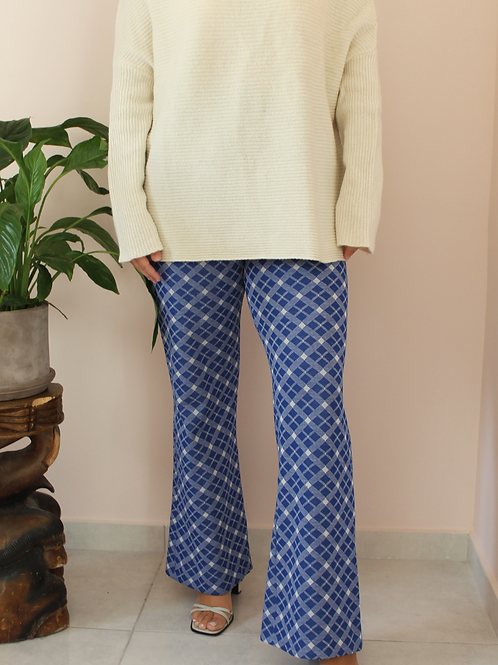Vintage 70s Flared Pants in Blue and White Check Print
