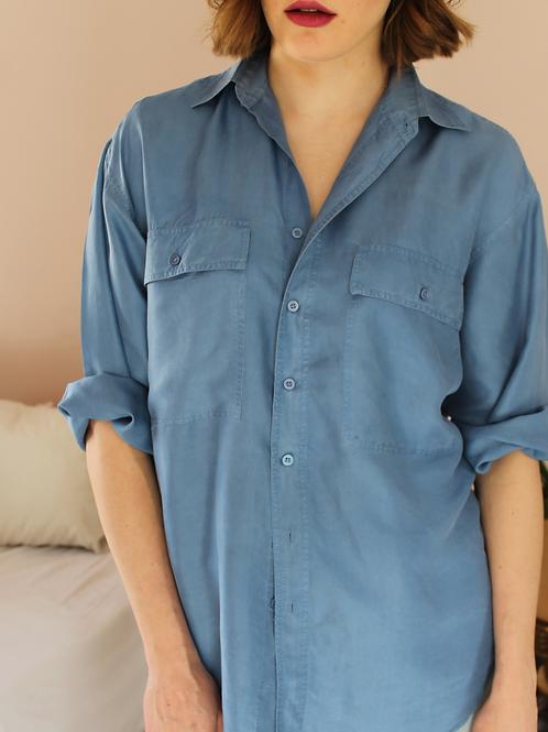 90s Vintage Silk Shirt in Blue - (EU46)