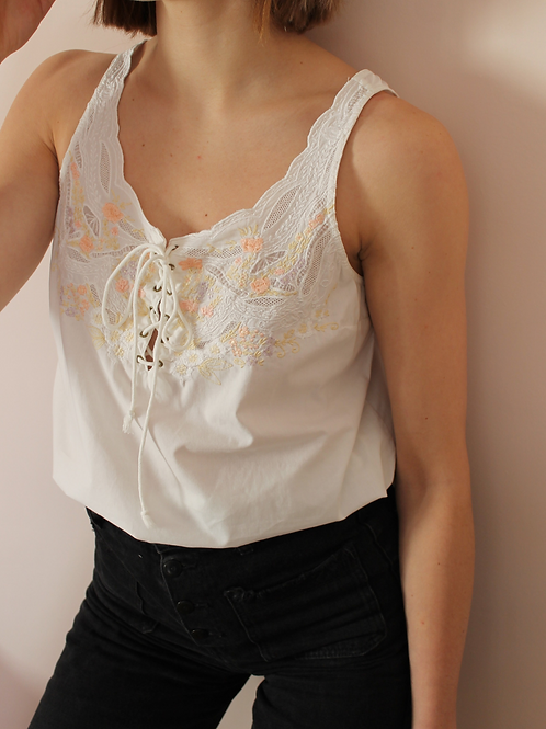 90s Vintage Embroidered Tank Top - (EU44)