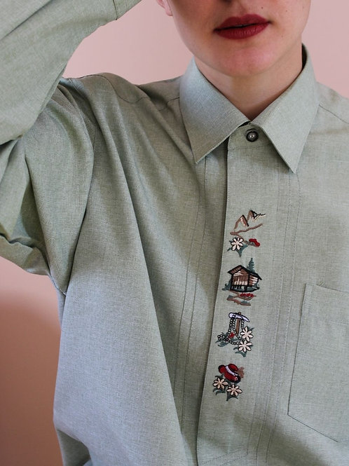 90s Vintage Embroidered Neck Blouse in Pistachio Green