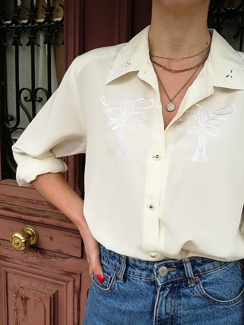 Vintage Embroidered Collar Blouse in Cream White