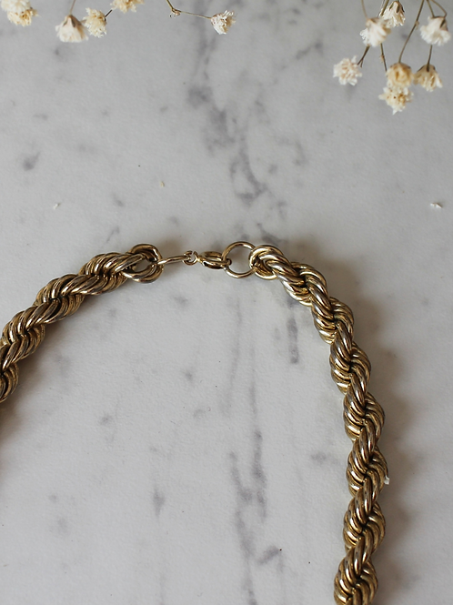 Vintage Gold Toned Rope Chain Necklace