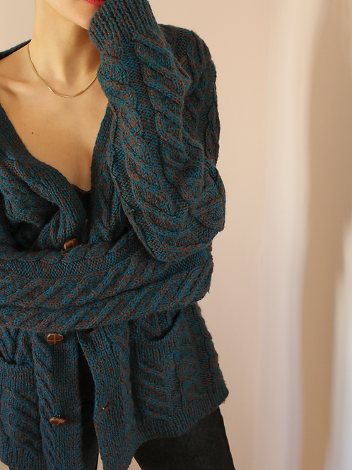 90s Vintage Cable Knit Long Cardigan