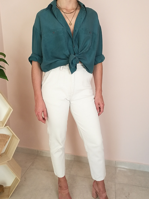 Vintage High Waisted Mom Jeans in White