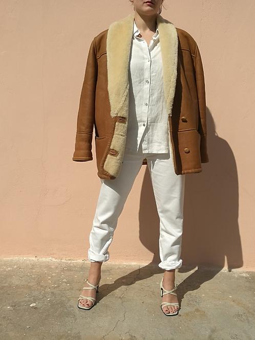 Vintage Leather Shearling Jacket Coat in Brown
