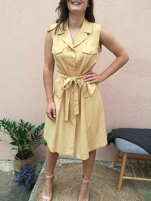 Vintage Button Up Midi Linen Dress in Pale Yellow