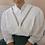 Thumbnail: 90s Vintage Statement Blouse in White - (EU46)
