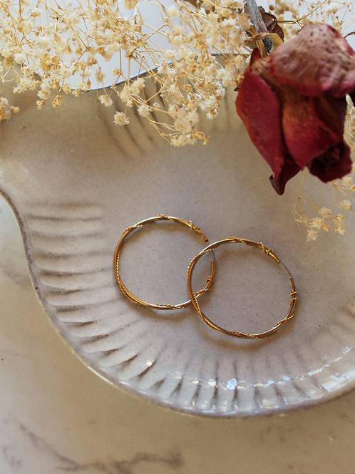 Vintage 80s Gold Plated Hoop Earrings