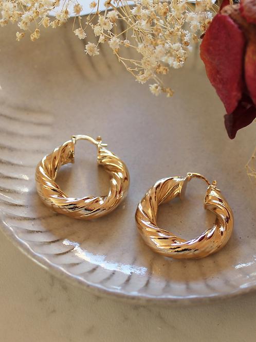 Vintage 90s Gold Plated Hoop Earrings