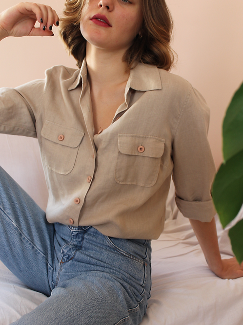 Vintage 90s Linen Button Up Shirt in Beige