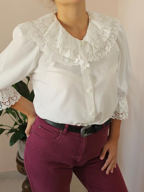 Vintage Statement Collar Blouse in White