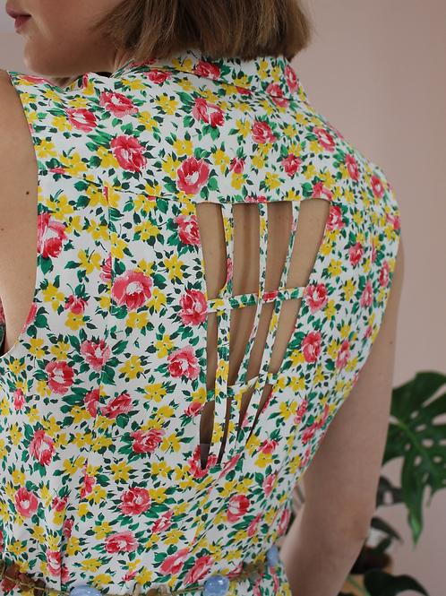 90s Vintage Buttoned Up Floral Dress - (EU44)
