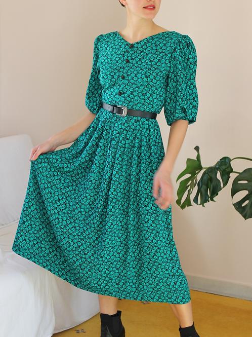 90s Vintage Maxi Green Dress