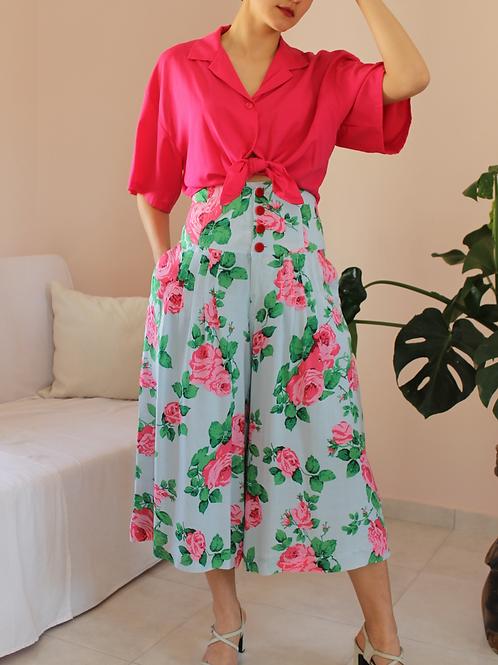 90s Vintage  High Waisted Floral Culottes - (EU40)