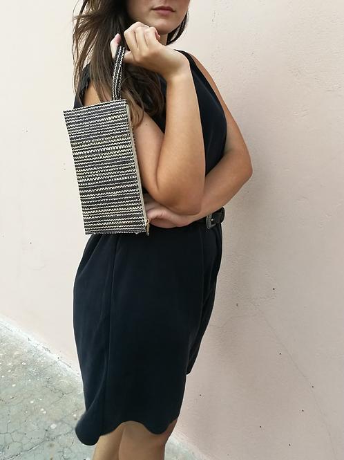 Handmade Straw Clutch Bag with Zip Closure