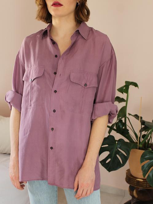 90s Vintage Silk Shirt in Pastel Purple - (EU46-48)