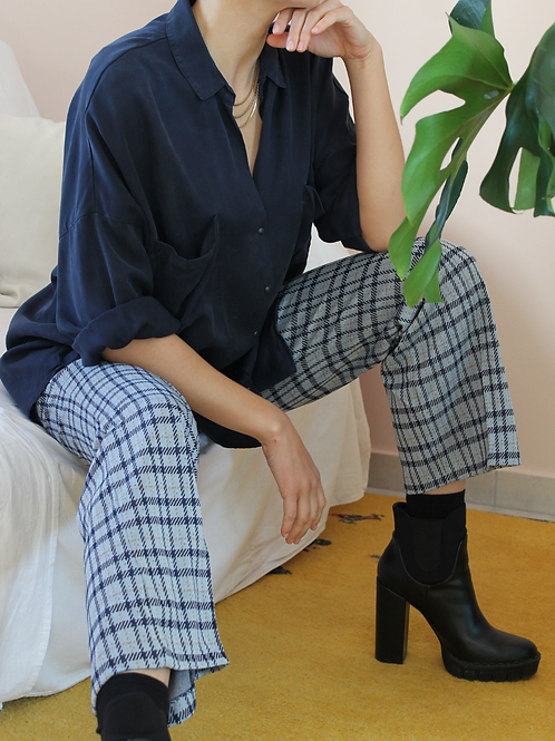 70s High Waisted Flares in Blue Check Print, W32/L30