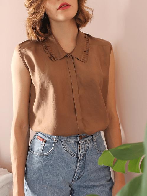 90s Vintage Silk Fringe Top in Brown - (EU46)
