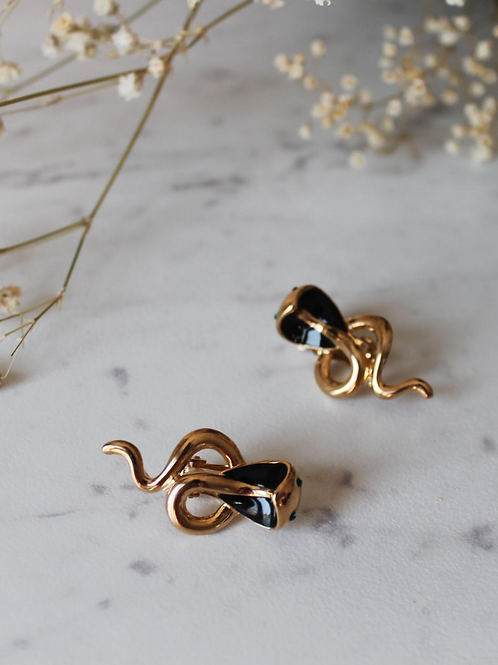 Vintage Gold Toned Snake Earrings