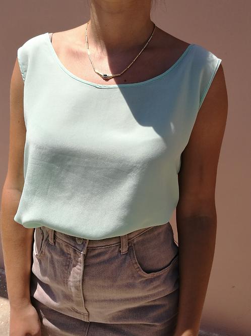 Vintage Silk Top in Mint