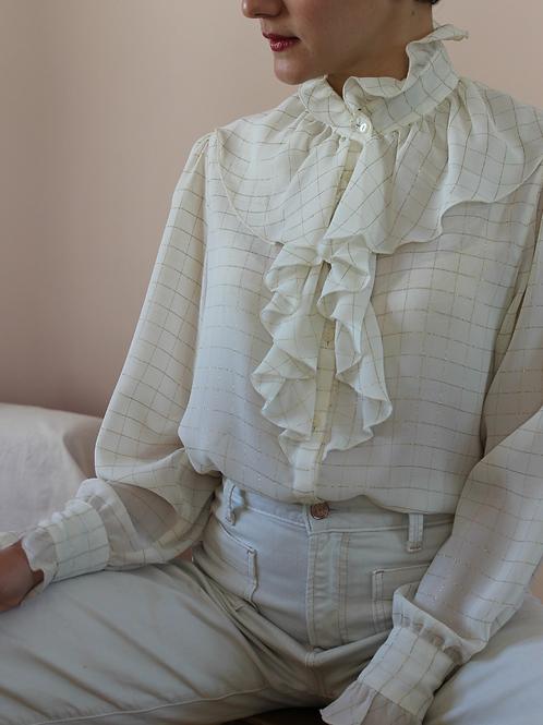 80s Vintage Ruffle Collar Blouse in  Cream White