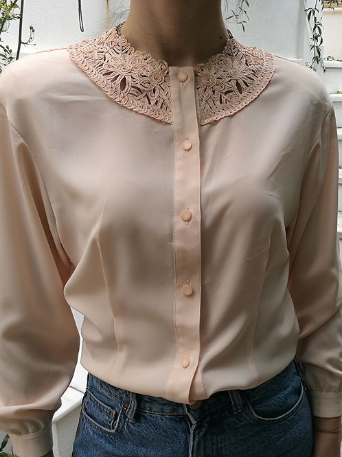 Vintage Embroidered Collar Blouse in Pastel Pink