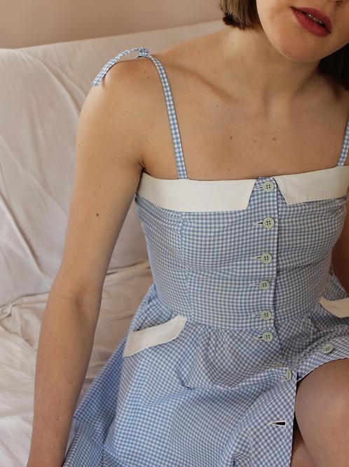 90s Vintage Gingham Dress in Blue - (EU 38-40)