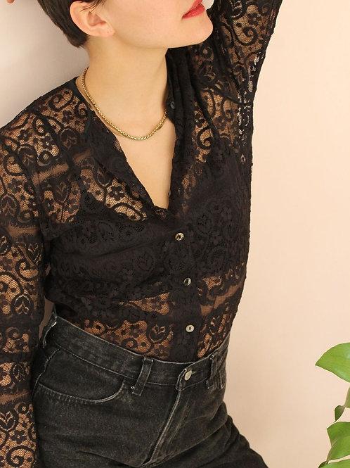 90s Vintage Lace Blouse in Black