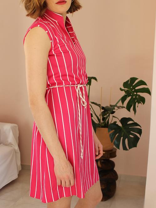 Vintage Midi Striped Summer Dress - (EU42)