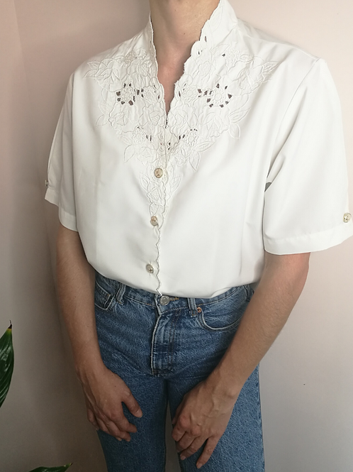 Vintage Embroidered Summer Blouse in White