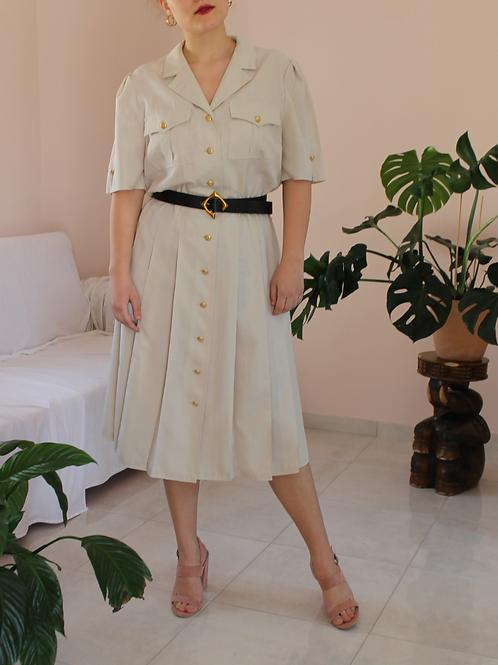 90s Vintage Button Down Dress in Beige - (EU42-44)