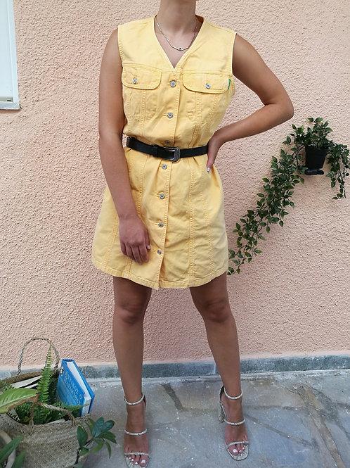Vintage Benetton Denim Mini Dress in Yellow