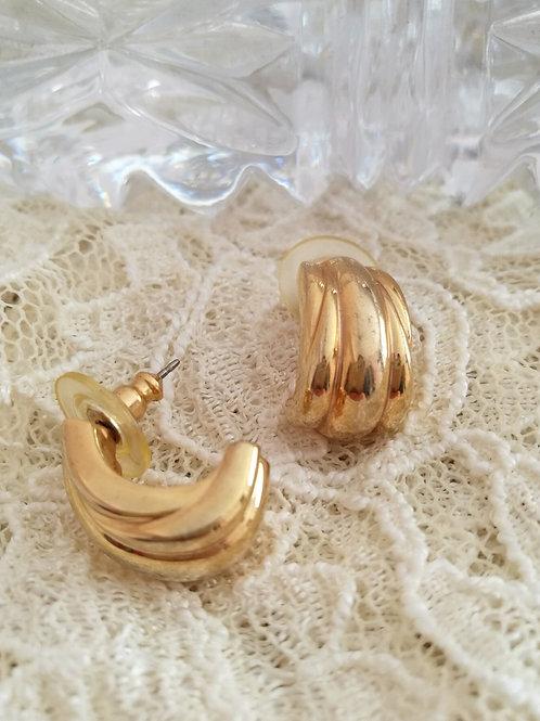 Vintage Gold Toned Pierced Earrings