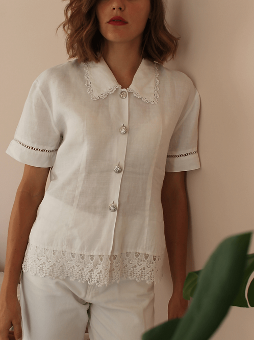 Vintage Cut Out Blouse in White - (EU46)