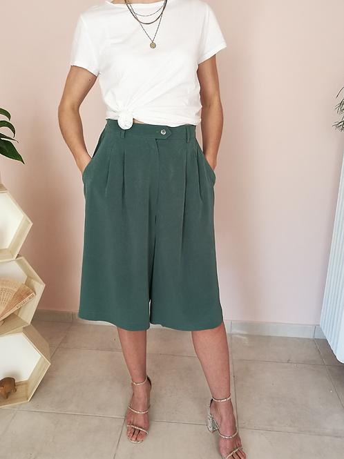 Vintage Minimal Culottes Pants in Green