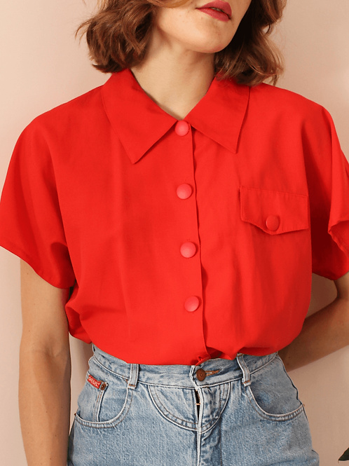 90s French Vintage Collar Blouse in Red - (EU46)