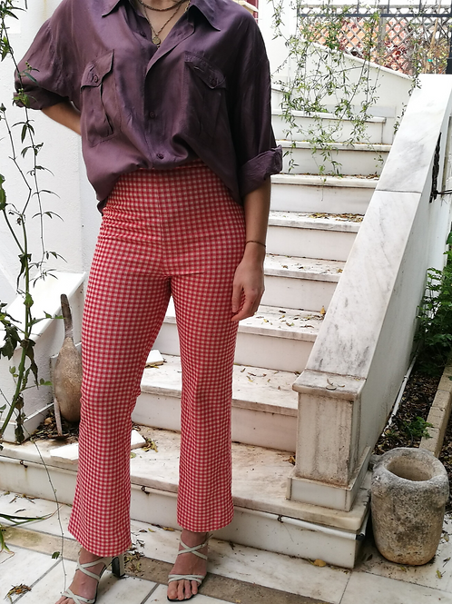 Vintage Flared Pants in Red Check Print