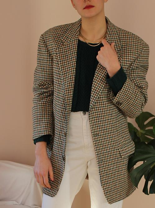 Vintage 90s Wool Dogtooth Blazer in Beige