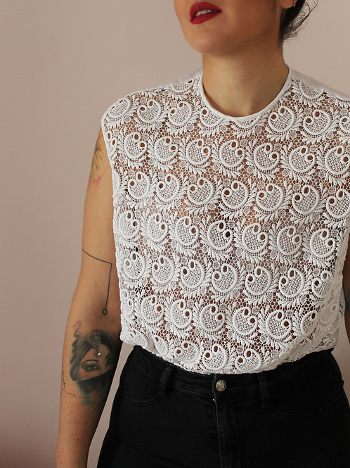 Vintage 90s Cut Out Blouse in White