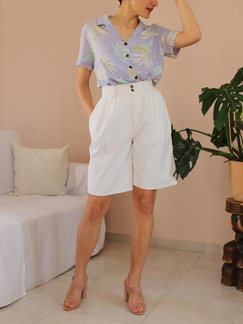 Vintage Cotton Corduroy Shorts in White