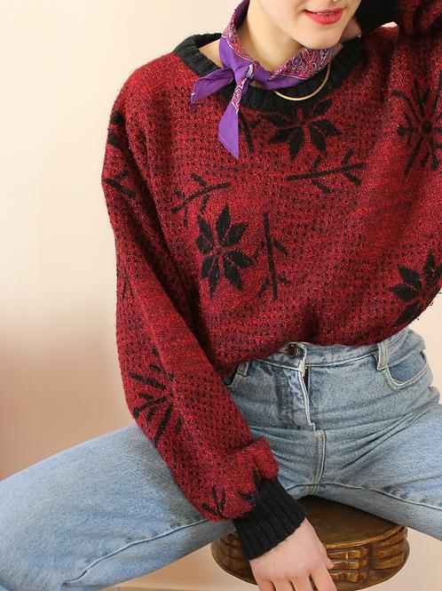 80s Vintage Wool Blend Sweater in Burgundy